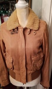 NWT Vince. Leather Aviator Jacket Shearling Collar